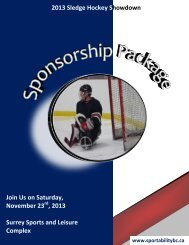 Join Us on Saturday, November 23 , 2013 Surrey ... - SportAbility BC