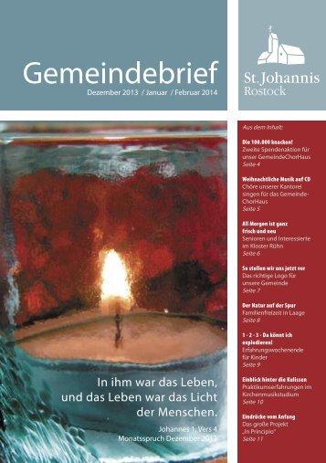 Ausgabe 1/2014 - Ev.-Luth. Gemeinde St. Johannis Rostock