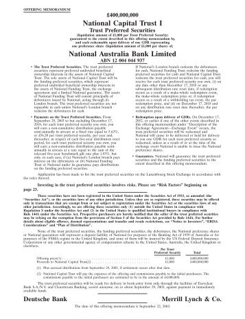 National Australia Bank Ltd. - Capital and Funding - NAB