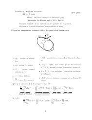 L'équation intégrale de la conservation de quantité de mouvement ...
