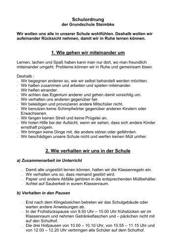 Schulordnung der Grundschule Steimbke-bitte anklicken