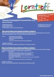 Planung Zusatzangebote Sommerferien 2013 - Lerntreff