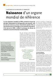 Naissanced'un organe mondial de référence - SOS Faim