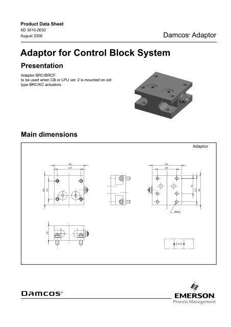 Product Data Sheet: Damcos Adaptor for Control Block System