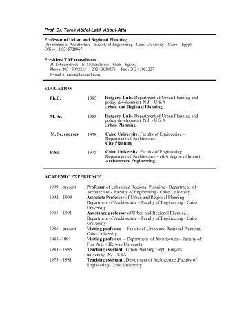 Prof. Dr. Tarek Abdel-Latif Aboul-Atta Professor of Urban and ... - ACIS