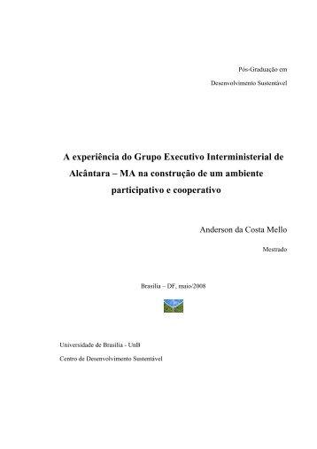 A experiência do Grupo Executivo Interministerial de Alcântara – MA ...