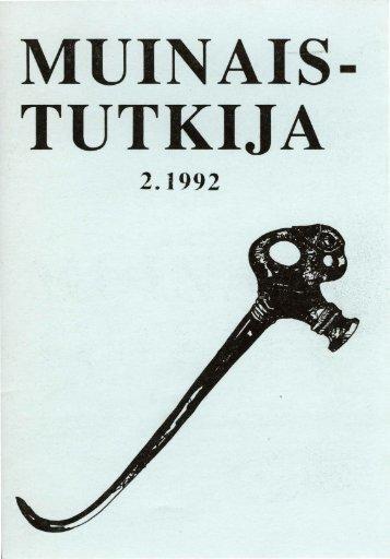 TUTKIJA .·· - Suomen arkeologinen seura ry.