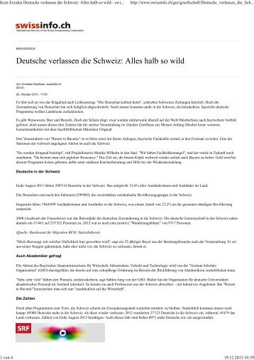 Kein Exodus:Deutsche verlassen die Schweiz - German Scholars ...