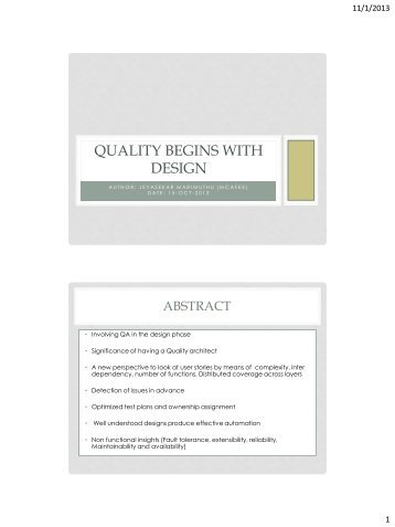 Quality begins with design - PNSQC