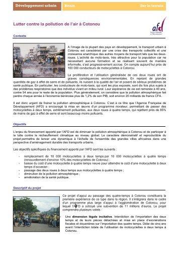 Lutte contre la pollution Cotonou - Agence Française de ...