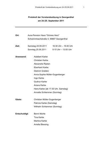 Protokoll der Vorstandssitzung in Georgenthal am 24./25 ...