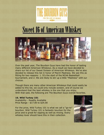 Sweet 16 of American Whiskey - For the Love of Whiskey!