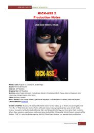 KICK-ASS 2 Production Notes - Visual Hollywood