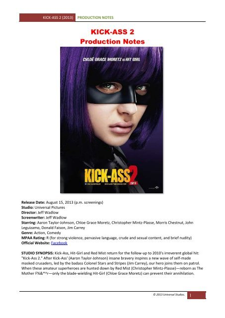 Kick Ass 2 Production Notes Visual Hollywood