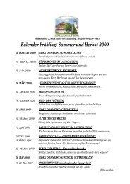 Kalender Frühling, Sommer und Herbst 2009 - Landgasthof Berg