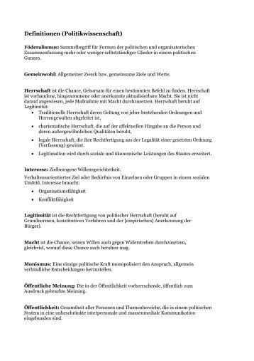 Definitionen in der Politikwissenschaft (was ist Politik?) - ahuels.de