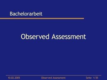 Observed Assessment - Dr. Matthias Wimmer