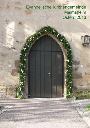 Gemeindebrief - Evangelische Kirchengemeinde Meimsheim