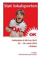 Indbydelse til OK-Cup 2013 22. – 24. marts 2013 i Gråsten - CuMaP