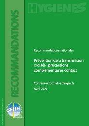 Prévention de la transmission croisée : précautions ... - CCLIN-EST
