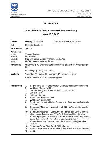 Genossenschaftsversammlung vom 10. Juni 2013 (PDF)