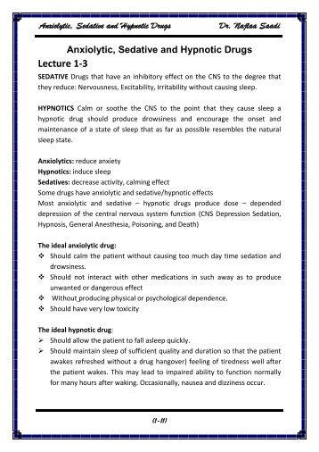 Anxiolytic, Sedative and Hypnotic Drugs Dr. Najlaa Saadi