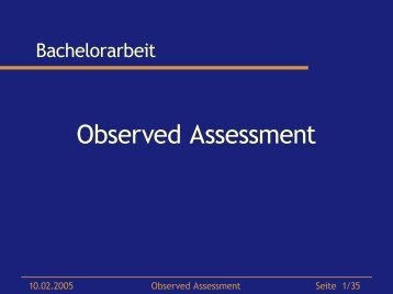Observed Assessment - Dr. Matthias Wimmer