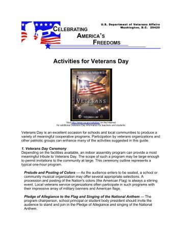 Activities for Veterans Day - US Department of Veterans Affairs