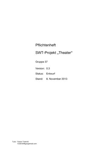 """Pflichtenheft SWT-Projekt """"Theater"""""""