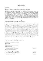 MR examination Dear Patient, Please let us inform you about the ...