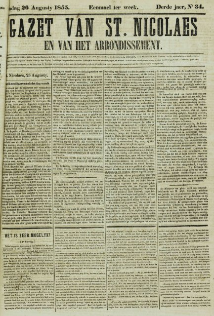 dag 26 Augusty 1855. Derde jaer, N* 34