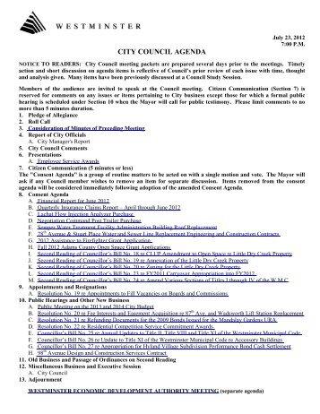 Agenda Item 8 A - City of Westminster