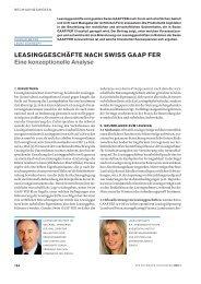 Leasinggeschäfte nach Swiss GAAP FER, Eine konzeptionelle ...