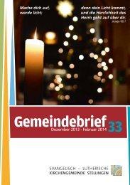 33 Gemeindebrief - Evangelisch-Lutherische Kirchengemeinde ...