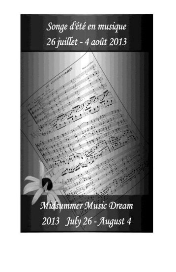 Festival 2013 Program Booklet - Midsummer Music Dream / Song d ...