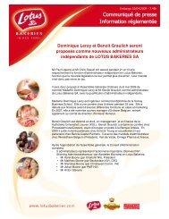 Communiqué de presse Information réglementée - Lotus Bakeries