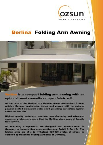 Berlina Folding Arm Awning Specifications