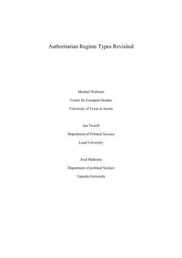 Authoritarian Regime Types Revisited