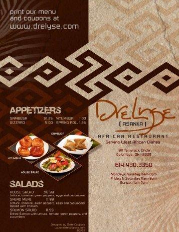 Menu - Drelyse African Restaurant