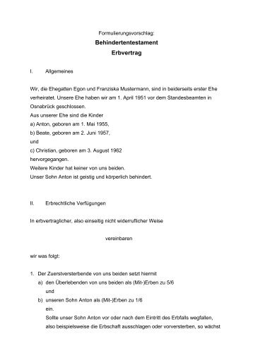 behindertentestament erbvertrag - Erbvertrag Muster