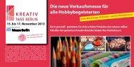 Die neue Verkaufsmesse für alle Hobbybegeisterten - Kreativ Tage ...
