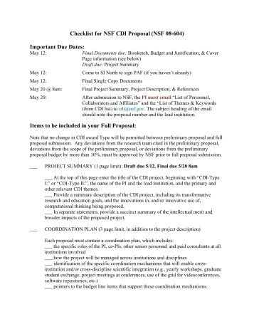 Checklist for NSF CDI Proposal (NSF 08-604) Important Due Dates ...