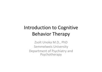 an introduction to cognitive therapy Overview cognitive behavioral therapy (cbt) is a common type of talk therapy ( psychotherapy) you work with a mental health counselor.