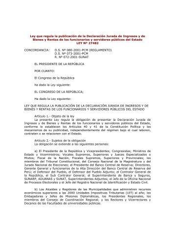 Ley que regula la publicación de la Declaración Jurada de Ingresos ...