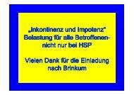 """""""Inkontinenz Inkontinenz und Impotenz und ... - Ge(h)n mit HSP"""