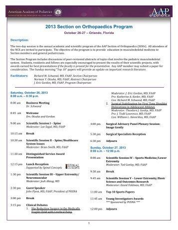 2013 Section on Orthopaedics Program