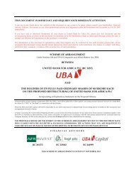 SCHEME OF ARRANGEMENT BETWEEN UNITED BANK ... - UBA Plc