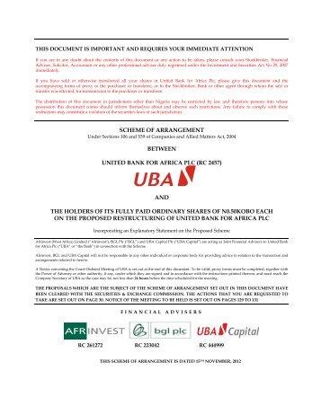 SCHEME OF ARRANGEMENT BETWEEN UNITED BANK ... - UBA Plc