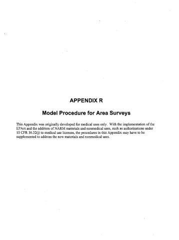 APPENDIX R Model Procedure for Area Surveys
