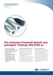 Für höchsten Feststoff-Gehalt und geringste Trübung: SOLITAX sc